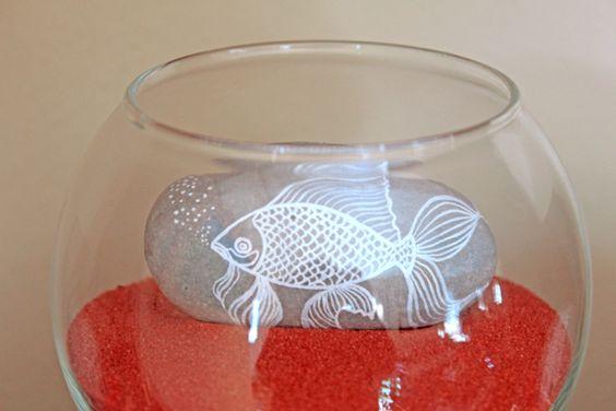 goldfish rock in fishbowl, so cute!!!