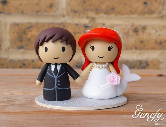 Groom and Ariel cake topper by Genefy Playground https://www.facebook.com/genefyplayground: