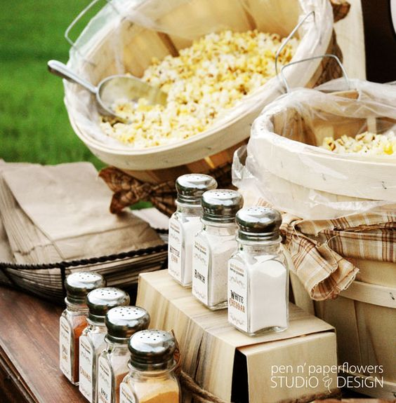 Popcorn bar... So cute! -- easy, unique, and it's something your guests will LOVE.: Wedding Idea, Outdoor Wedding, Late Night Snack, Party Idea, Buffet Idea, Outdoor Movie Night, Food Bar