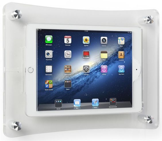 ipad air wall mount with clear acrylic enclosure optional home button cover