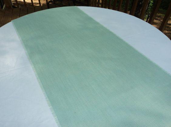 Jute Läufer Mint blau Sackleinen Tischläufer 14 von theruffleddaisy