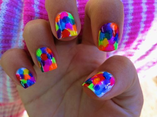 Cool!!  put oil around cuticle, then just SPLOTCH colors on for Paint ball nails!