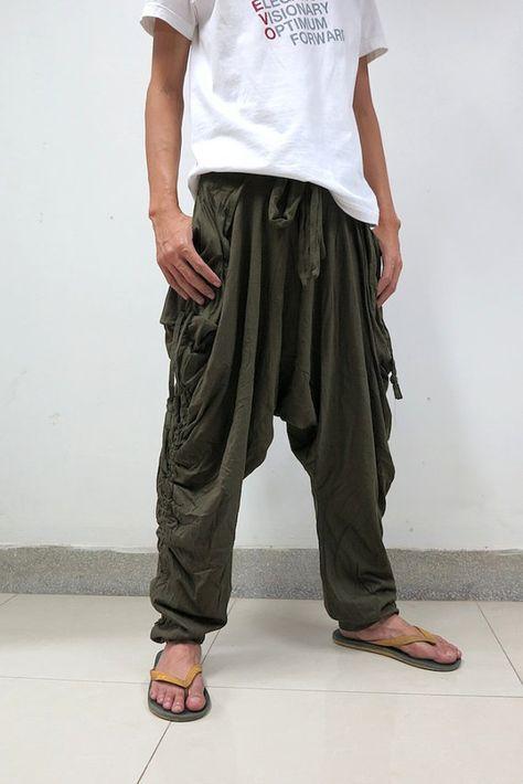 Harem Pants 001 Green Etsy Harem Pants Harem Pants Men Mens Fashion Fall