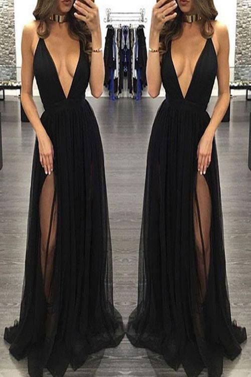 Sexy Spaghetti Straps Deep V-neck Sleeveless Black Prom Dress,Tulle Prom Party