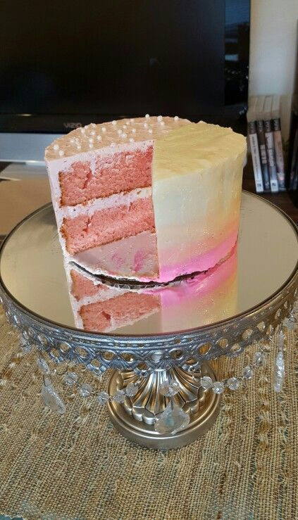 My test cake #3. Used sweetapolita strawberry cake recipe with buttercream on one side, ombre cream cheese frosting on the other side. Cream cheese frosting was much better (base frosting recipe from realfoodmadeeasy.com).