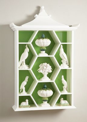 pagoda curio shelf. white and green. collection.:
