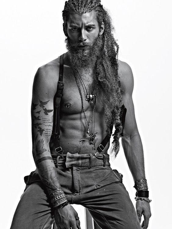My dream type!!! The long hair, scruffed beard, pierced nipples, inked, Raw, rough, kinda dirty, kinda hippy, kinda old soul with the style. #perfection