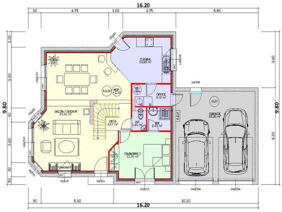 Plan de maison contemporaine 4 chambres avec double garage  Maison