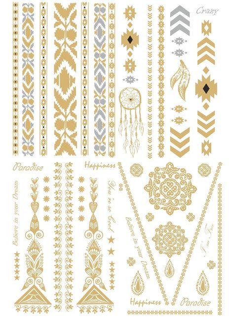 Tatouages indien doré et argenté, Skin Jewel Tattoo