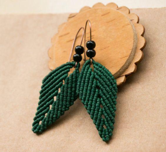 Green Leaves Macrame Earrings with Black Beads