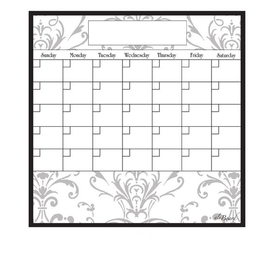 Make each day count with this handy calendar. Perfect for keeping yourself and the family organized and on the same page, coordinate schedules, mark birthdays, assign tasks, organization never looked so good with this classy grey damask calendar.