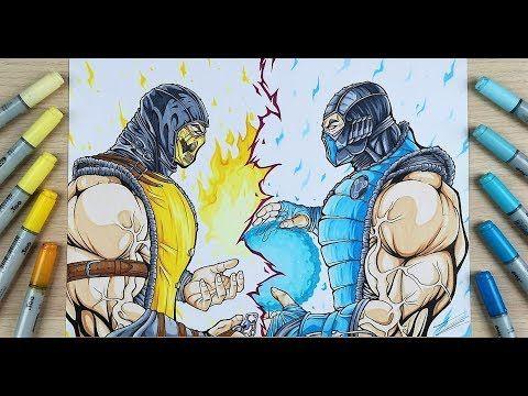 Drawing Scorpion Vs Sub Zero Mortal Kombat Tolgart Youtube