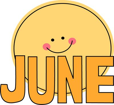 Free Month Clip Art | Month of June Sun Clip Art Image - the word June in orange with a ...