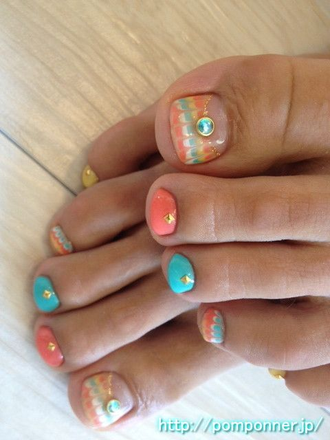 Orange Nails, Peacocks And Nails On Pinterest