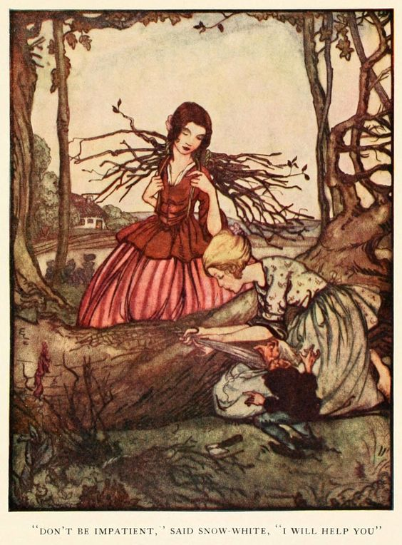 """Rie Cramer ~ Snow-White and Rose-Red ~ Grimm's Fairy Tales ~ 1927 ~ via """"Don't be impatient,"""" said Snow-White, """"I will help you."""":"""