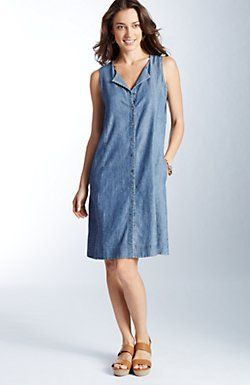 chambray button-front dress