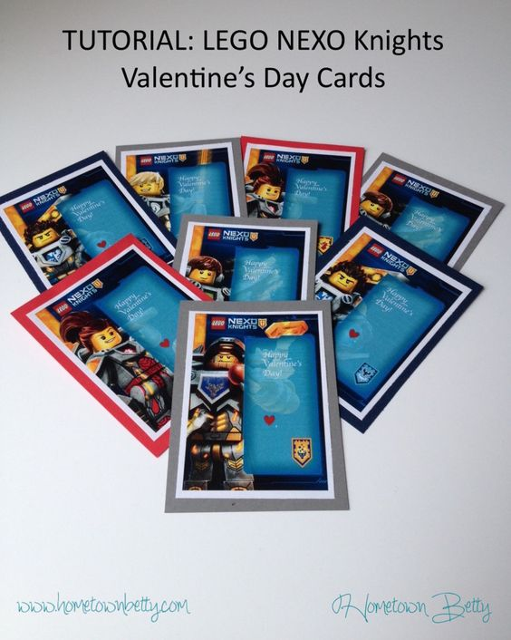Want to make some LEGO NEXO Knights Valentine's Day Cards? Then look no further. Click to see more at Hometown Betty.