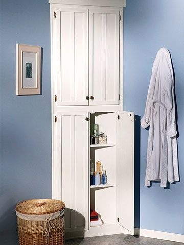 How to build a corner linen cabinet adding extra storage - Make cabinet scratch extra storage space ...