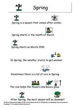 A 1-page explanation of both Spring and St. Patrick's Day with pictures to aid in comprehension....also comprehension sheets to go with!