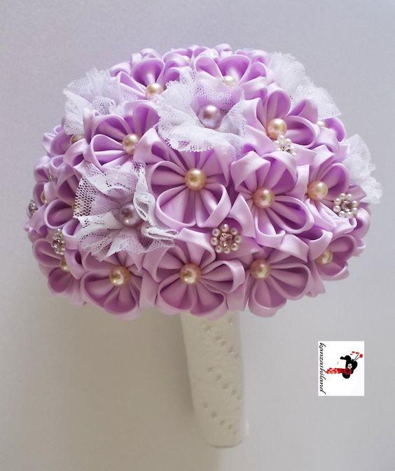 Fabric Flower Wedding Bouquet Tutorial: Fabric Bouquet, Kanzashiland