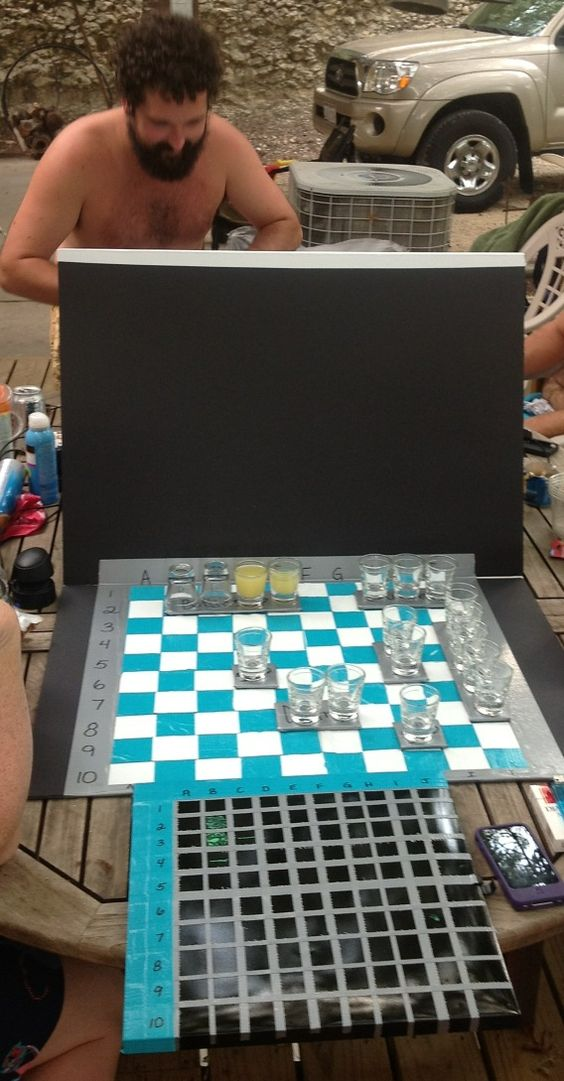 I made this for a friends going away party.  Battleshots!!