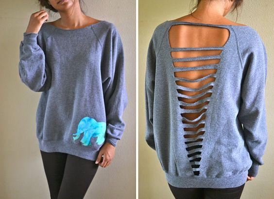 Shirt cut: Cutout, Elephant Sweatshirt, So Cute, Diy Sweatshirt, Batik Elephant, Diy Clothes, Cut Out, Old Sweatshirt