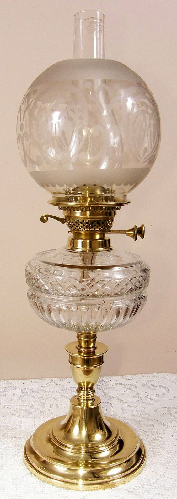 Victorian Glass oil lamp.: