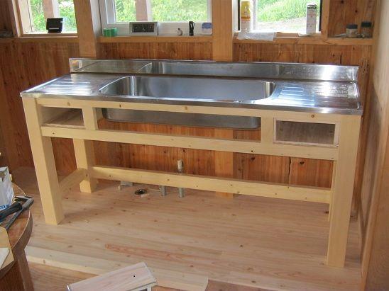 自作の流し台 流し台 流し台 Diy 造作キッチン