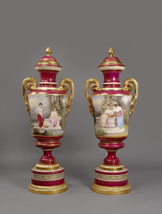 An Important and Extremely Large Pair of Magenta Ground Vienna Porcelain Exhibition Vases