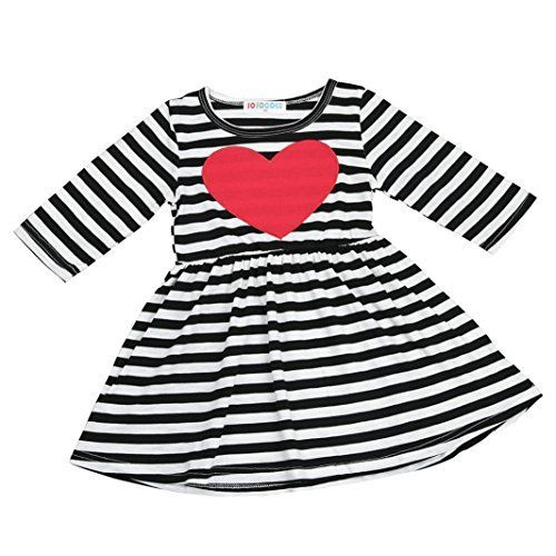 Toddler Kid Baby Girl Princess Heart print Dress Valentine/'s Day Outfits Clothes