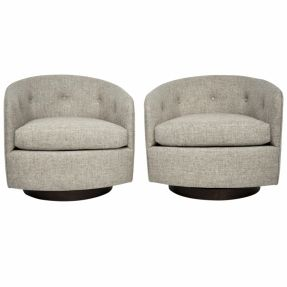 Modern swivel chairs with stained wood base