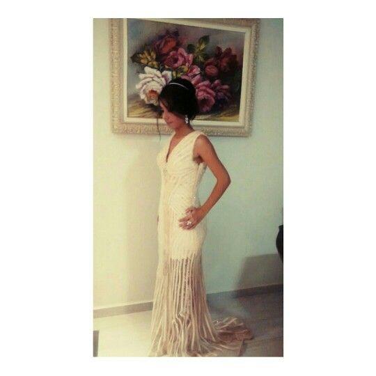 Lívia de Souza com vestido de festa MARAVILHOSO todo em tiras de seda com tela e bordados em sua formatura