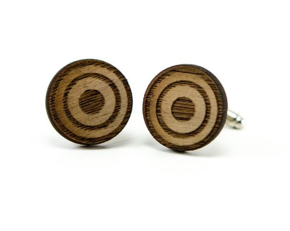 Round Bullseye Men's Wood Cufflinks -Geometric Circle Wooden Target Cuff Links -Gift Idea for Father's Day, Graduation, Birthday Men's Gift on Etsy, $20.00
