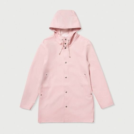 Stutterheim pink raincoat Brand new Stockholm Dusty Pink raincoat is handmade in rubberized cotton, unlined and with double welded seams. The finest craftsmanship is used to create this beautiful raincoat, here in a dusty pink with silver buttons and hemp. The female model in the picture is 176 cm tall and she is wearing a size XS Stutterheim Jackets & Coats