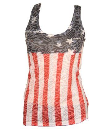 Amazon.com: Zebra Style Underprint American Flag Women's Tank Top (Medium): Clothing