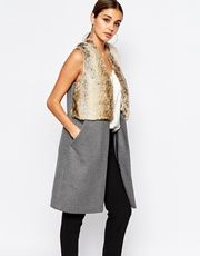 River Island Sleeveless Jacket With Faux Fur Front