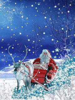 Magic Winter: Santa Claus and deer mobile phone wallpapers