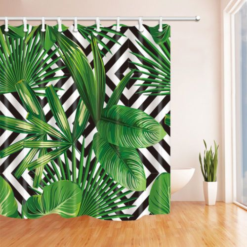Green Tropical Palm Leaf Shower Curtain Waterproof Fabric Amp 12hooks 71 106inches Tropical Shower Curtains Shower Curtain Palm Leaves