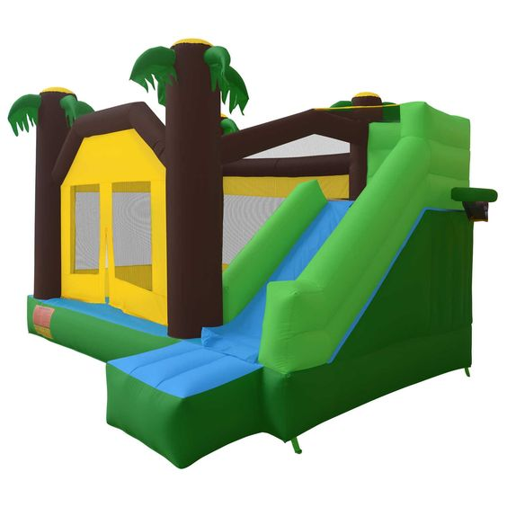 Cloud 9 Jungle Bounce House with Climbing Wall and Slide. Approximately 13.5 x 12 x 8.5 feet total inflated size. Complies with the Lead Free Toys Act. Includes powerful 950 watt UL-Listed blower. Made of fire-resistant, puncture-proof, heavy duty 420D Nylon. Features bouncing / jumping area (like an inflatable trampoline); fun slide; climbing wall; basketball hoop.