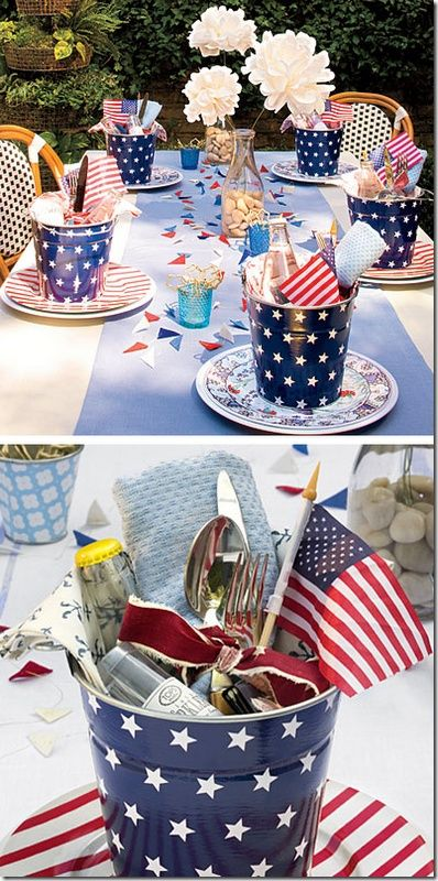 Easy DIY Patriotic Table setting ideas for 4th of July or Memorial Day. Perfect for your summer party and entertaining.