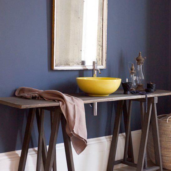 A ceramic basin set into a trestle table - so simple, so cool!