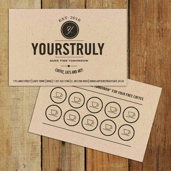 Really digging this business/loyalty card design. Yourstruly Cafe, Cape Town.:
