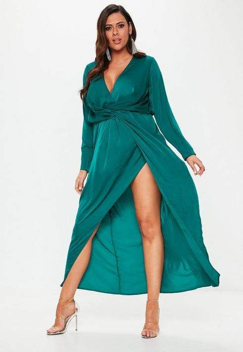 Plus Size Teal Wrap Knot Front Maxi Dress in 2019 | Plus ...