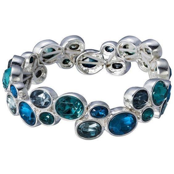 Lonna & Lilly Oval Stone Stretch Bracelet - Blue ($20) ❤ liked on Polyvore featuring jewelry, bracelets, accessories, stretchy bracelet, blue jewelry, blue bangles, bracelet bangle and bracelet jewelry