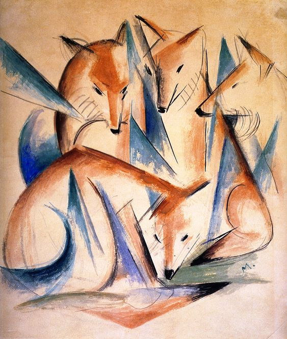 Franz Marc (German, 1880–1916). Four Foxes, 1913, Watercolor and chalk on paper, 44.4 x 38.7 cm | Indiana University Art Museum