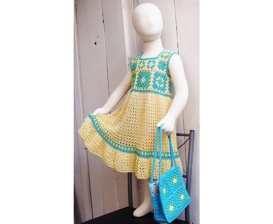 Granny Square Crochet Dress Pattern -Toddler Girl