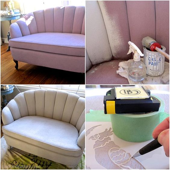 Chalk Paint Upholstery. How To Paint And Stencil Furniture
