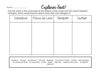 European Explorers Worksheets & Printables | Newport, Cartier and ...