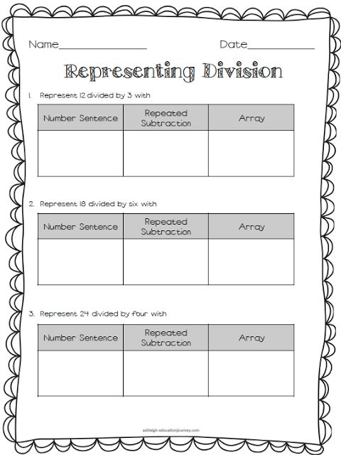 Division and Arrays & Division and Repeated Subtraction FREEBIES ...