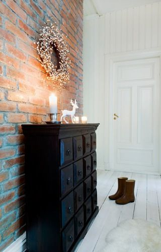 Entry: Christmas Entry, Christmas Inspiration, Black Dressers, Entry Decor, Old Bricks, Brick Walls, Exposed Brick